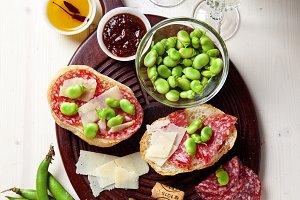 Italian snacks. salami sandwich