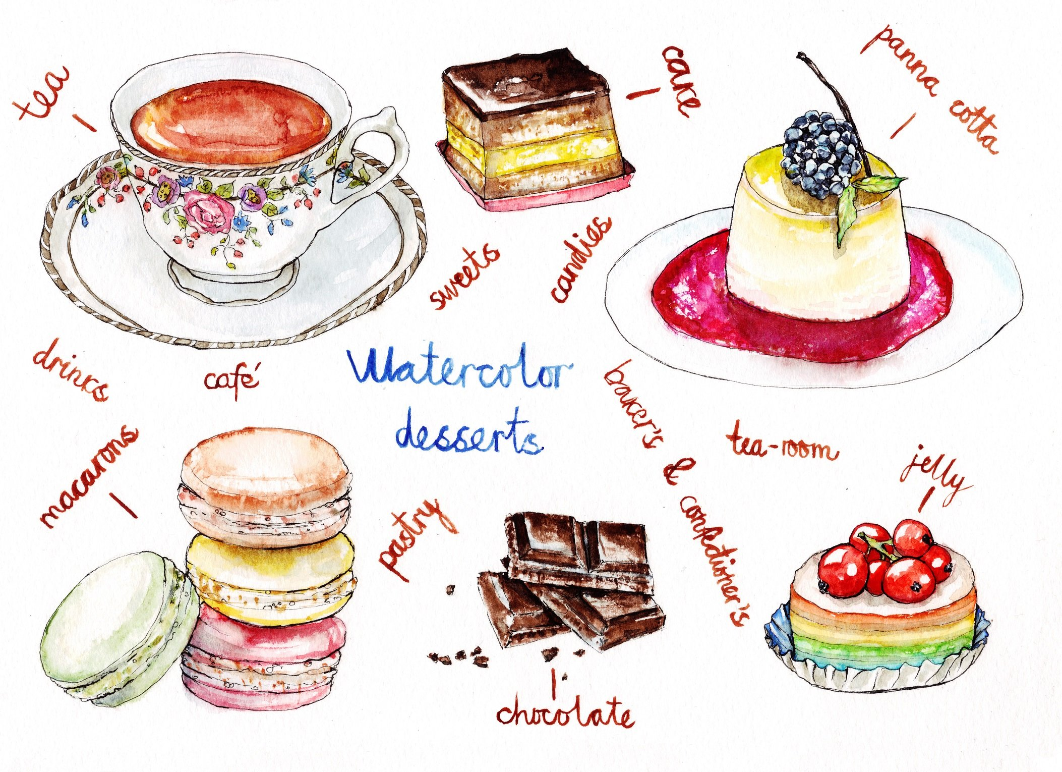 Watercolor illustration of desserts ~ Illustrations ...