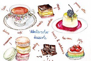 Watercolor illustration of desserts