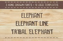 3 fonts and 9 logo templates