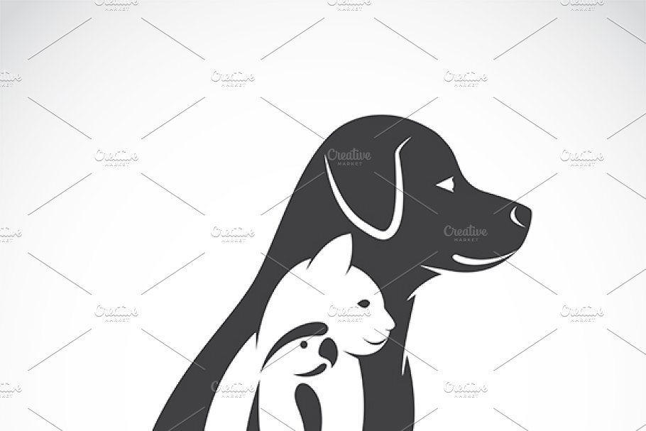 Vector Of Dog Cat And Bird Pet Pre Designed Illustrator