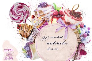 20 watercolor desserts