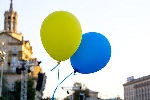 Flying balloons. Flag of Ukraine