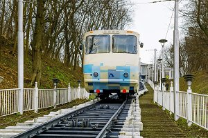 White funicular train