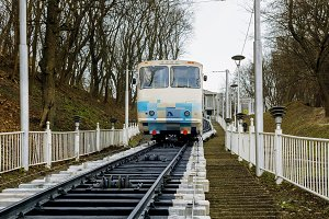 White and blue funicular train