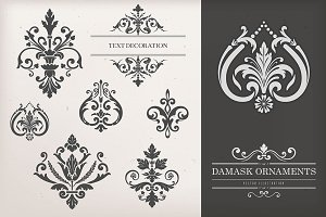 Vintage Damask Ornaments I