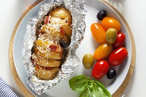 baked potato in foil.