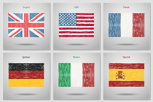 Hand drawn flags