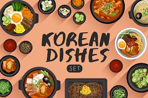 Big Set of Korean Cuisine