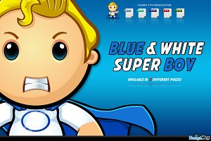 Blue And White Super Boy