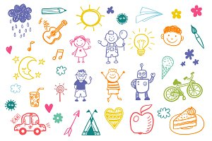 Children's drawing vector set