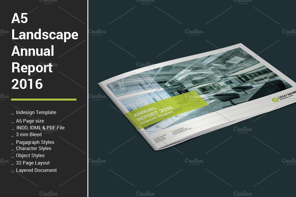 a5 landscape annual report 2016 brochure templates creative market