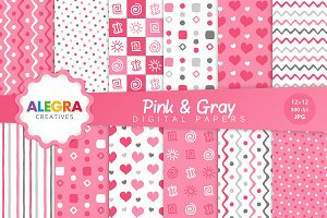 Pink & Gray Digital Paper Pack