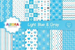 Light Blue & Gray Digital Paper Pack