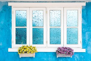 Window with Waterdrops