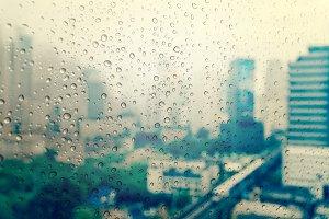 Rain drop On the Glass