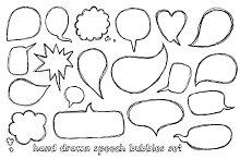 Speech bubbles doodle set
