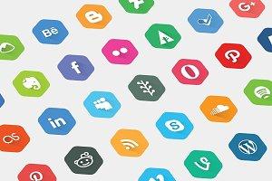 40 Social Media Network Flat Icon