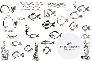 Fish silhouettes, vector