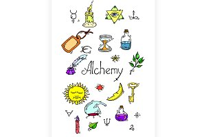 Alchemy symbols colored