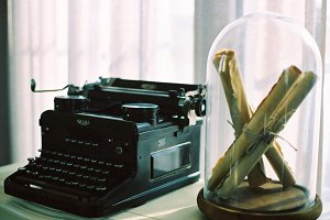 Retro typewriter and letter
