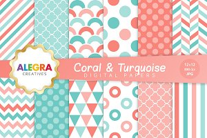 Coral & Turquoise Digital Paper Pack