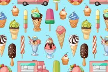 Ice creams collection pattern