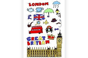 Vector hand drawn London set