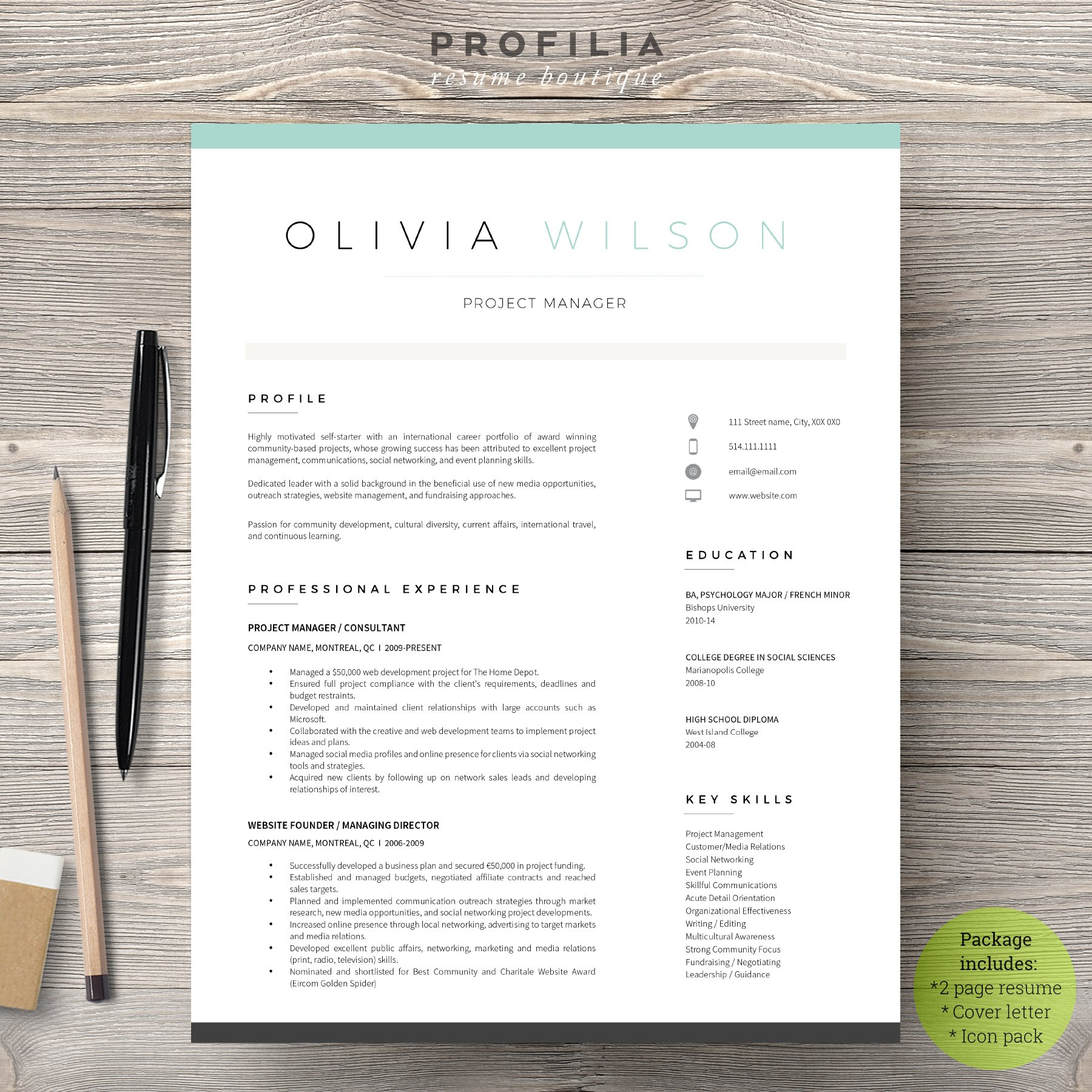 Word Resume Cover Letter Template Resume Templates Creative Market - Free cover letter template word download