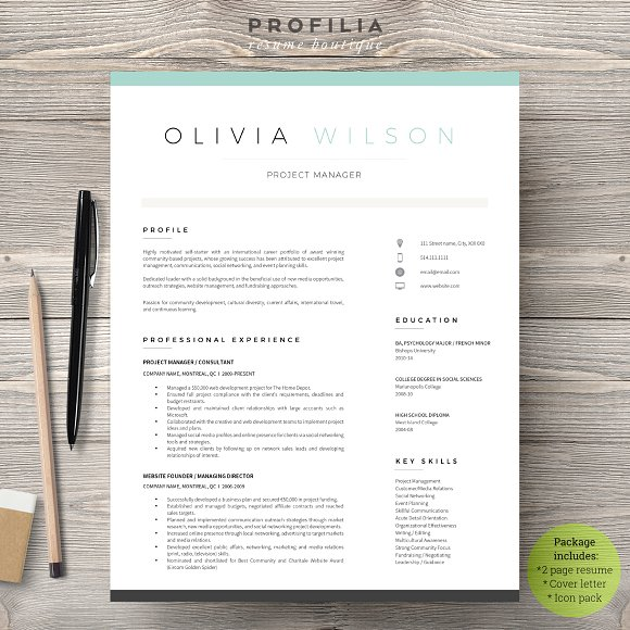Word Resume Cover Letter Template Resume Templates Creative Market
