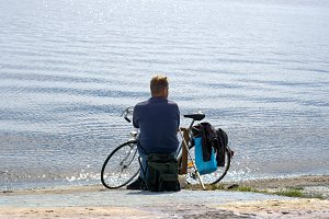 Fisherman with retro bicycle