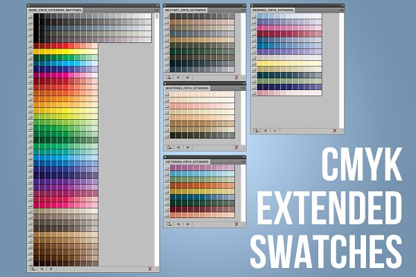 Color Palettes: Industrial Artworks - CMYK Extended Swatches-Illustrator