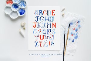 Alphabet Sailor-Watercolor Lettering