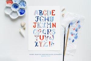Alphabet Sailor-Watercolor Lettering