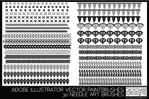 30 Needle Art Brushes - Illustrator