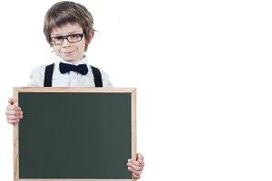 School child shows slate