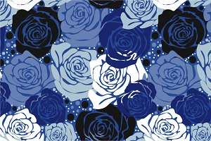 "Seamless pattern ""Blue roses"""