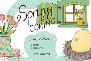 Set of spring cards and elements