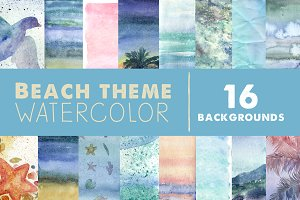 Watercolor beach backgrounds