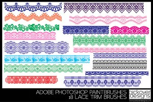 18 Lace Trim Brushes - PHOTOSHOP