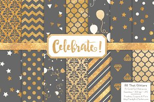 Gold Foil Digital Papers in Grey