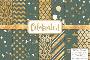 Hemlock Gold Foil Digital Papers