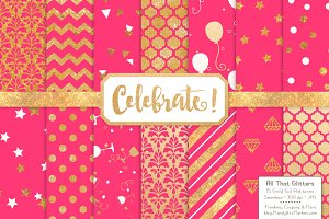 Hot Pink Gold Foil Digital Papers