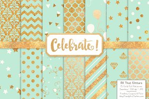 Gold Foil Digital Papers in Mint