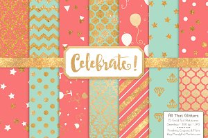 Mint & Coral Gold Foil Digital Paper