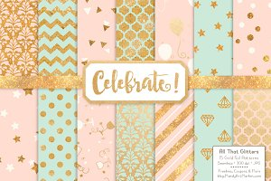 Mint & Peach Gold Foil Digital Paper
