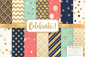 Modern Chic Gold Foil Digital Papers