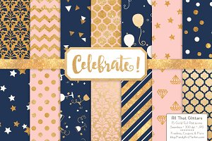 Navy & Blush Gold Foil Digital Paper