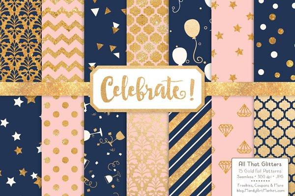 Navy & Blush Gold Foil Digital Pape…