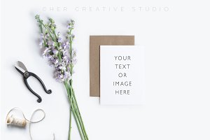 Card Mockup Styled Stock Photograph